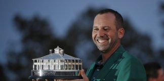 Sergio Garcia with winning trophy