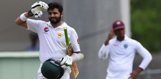 Azhar Ali does the salute after making his 14th Test century against West Indies
