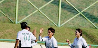 Pakistan celebrates one of Hamra Latif's goals (second from right)