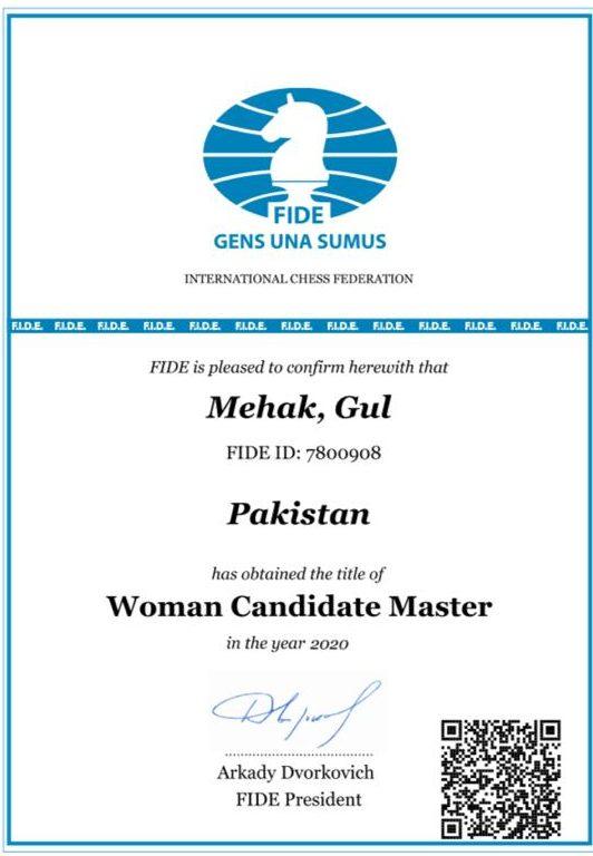 Chess player Mehk Gul's certificate